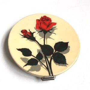 VINTAGE DOUBLE MIRROR COMPACT RED ROSE GERMAN MADE